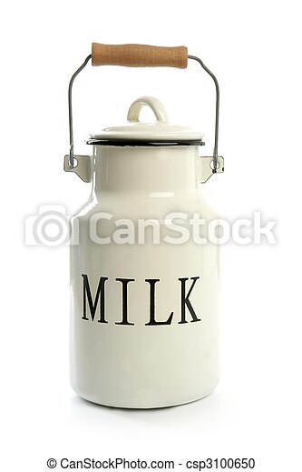 Milk urn white pot traditional farmer style - csp3100650