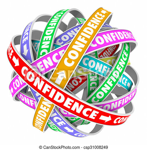 Drawing of Confidence Word Circular Pattern Self Assured ...