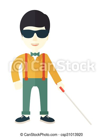 Vector Illustration of Blind man with stick. - An asian blind man ...