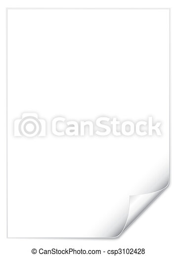 Page With Curled Corner (vector) - csp3102428