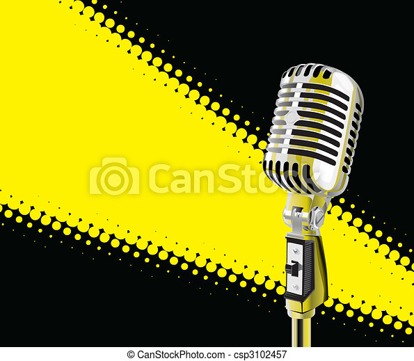 Microphone In Spotlight (vector) - csp3102457