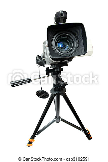 video camera on tripod - csp3102591