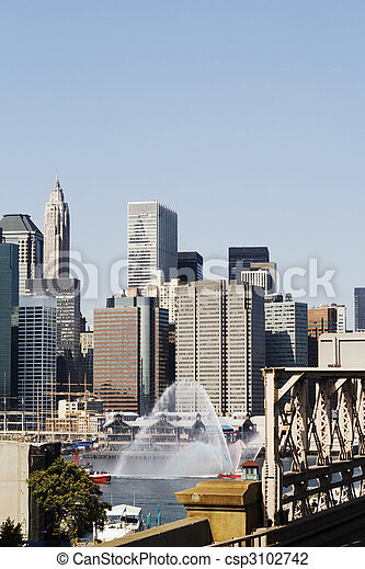 Fire fighting boat in New York  - csp3102742