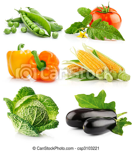 set of vegetable fruits isolated on white - csp3103221