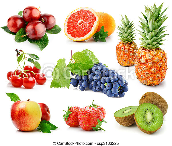 set of fruits and berries isolated on white - csp3103225