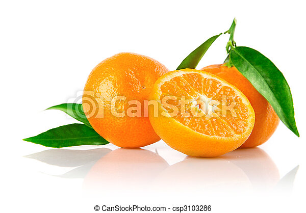 fresh mandarine fruits with cut and green leaves - csp3103286