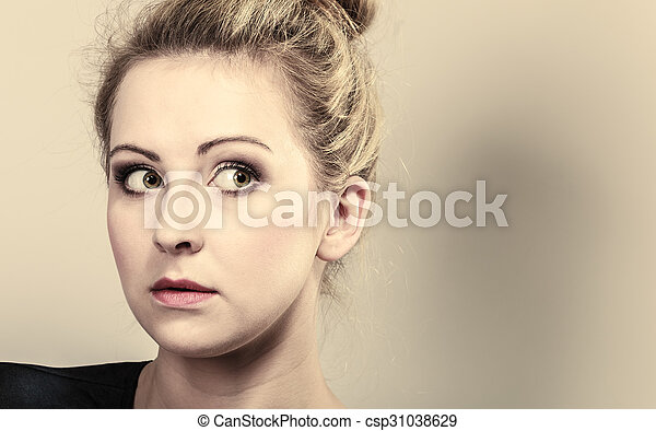 beautiful pensive woman face - csp31038629