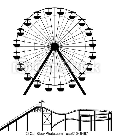 Ferris Wheel And Roller Coaster Silhouette 31046467
