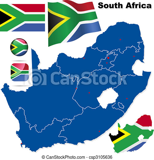 Clip Art Vector of South Africa vector set. Detailed country shape ...