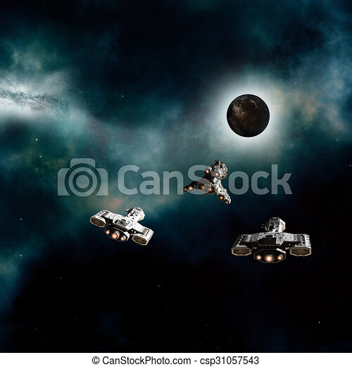 Spaceships Approaching Dark Planet - csp31057543