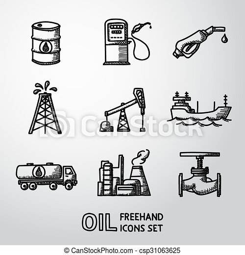 Set of handdrawn oil icons - barrel, gas station, rigs, tanker, truck, plant, valve. Vector - csp31063625