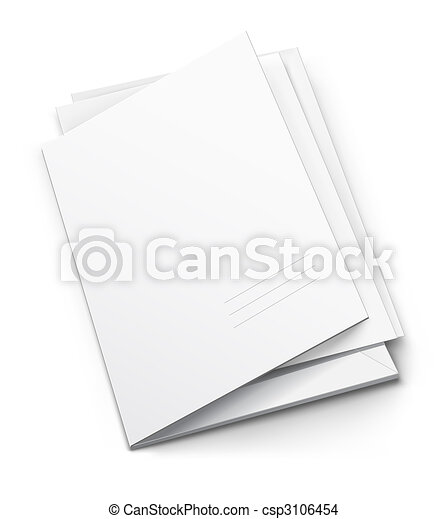 white folder with blank titular cover - csp3106454