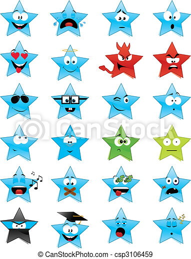 Star-shaped smiley faces - csp3106459