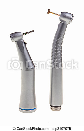 Dental drill tools isolated over white background. - csp3107075