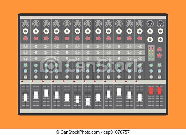 Analog Audio Mixer - Royalty Free Vector Clipart - csp31070757