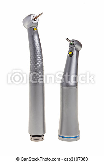 Dental drill tools isolated over white background. - csp3107080