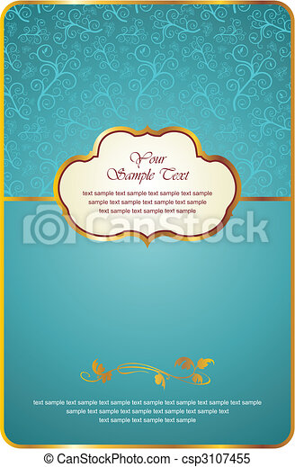 vintage card with gold emblem - csp3107455