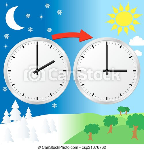 Clip Art Vector of time change to daylight saving time - vector ...
