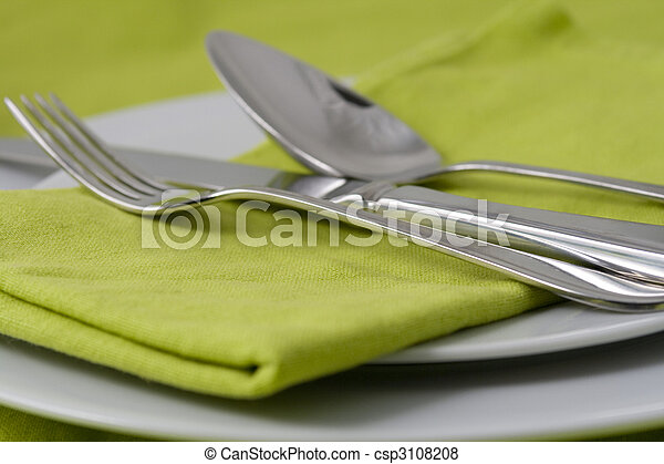 tableware on green - csp3108208