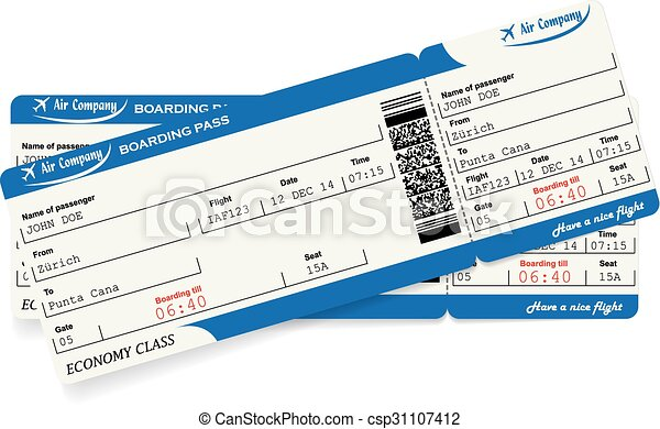 Pattern of two airline boarding pass tickets - csp31107412