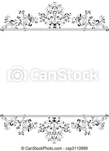vertical vintage floral frame in black and white - csp3110999