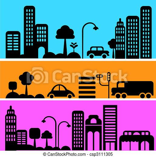Vector illustration of a city street - csp3111305