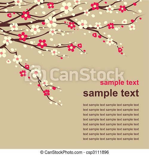 card with twig in bloom - csp3111896