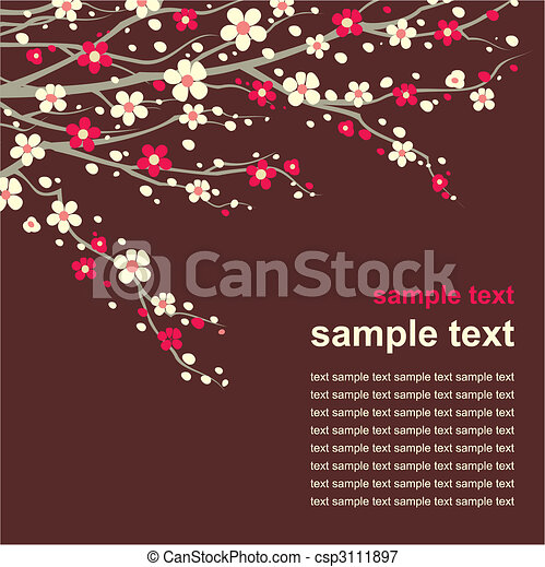 card with cherry twig in bloom - csp3111897