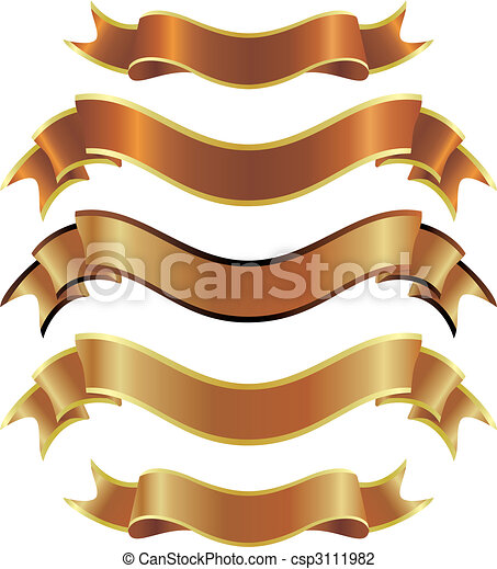 set of gold ribbons - csp3111982