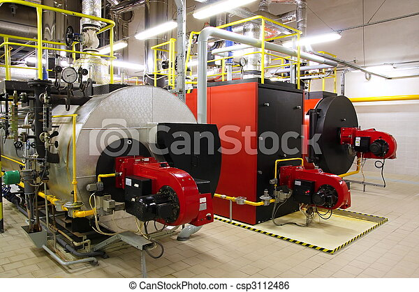Gas boilers in gas boiler room - csp3112486