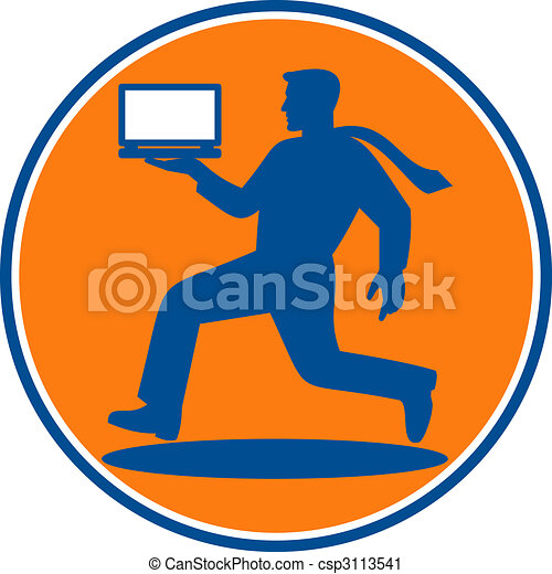 man carrying laptop computer running viewed from the side set inside a circle - csp3113541