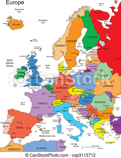 Europe with Editable Countries, Names - csp3113712