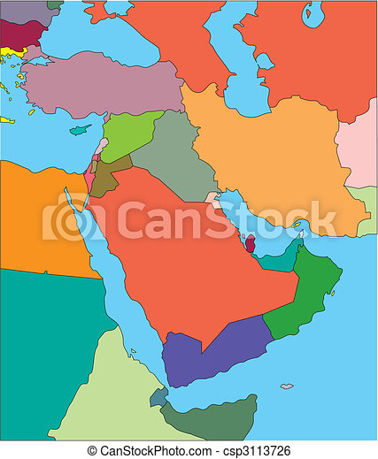 Middle East with Editable Countries - csp3113726