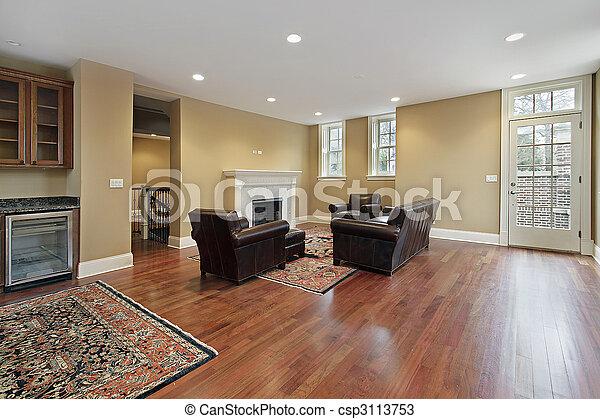 Foyer with cherry wood floors - csp3113753