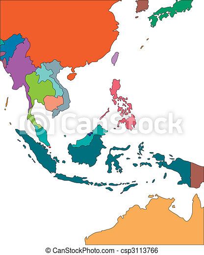 Southeast Asia with Editable Countries - csp3113766