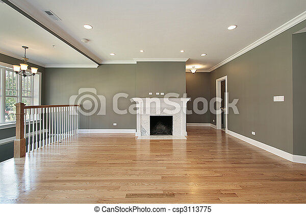 Living room with white railing - csp3113775