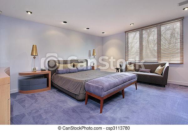 Master bedroom with lavendar carpeting - csp3113780