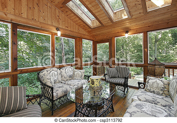 Wood paneled porch with skylights - csp3113792
