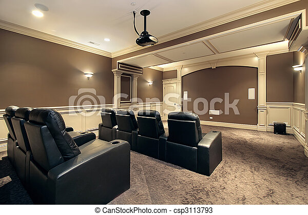 Home theater with stadium seating - csp3113793