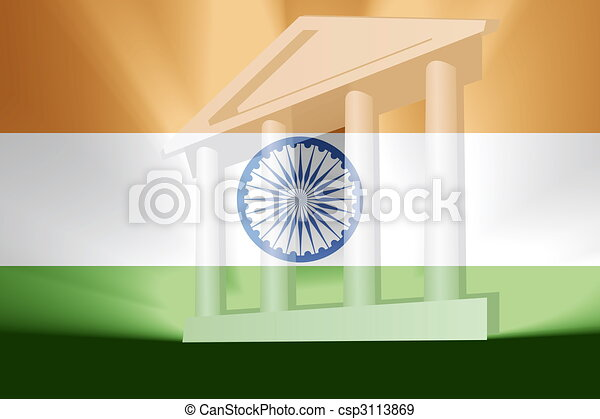 Flag of India government - csp3113869