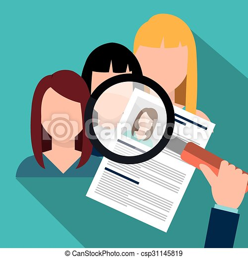 Vector Clip Art of Find person and job interview - Find person and ...