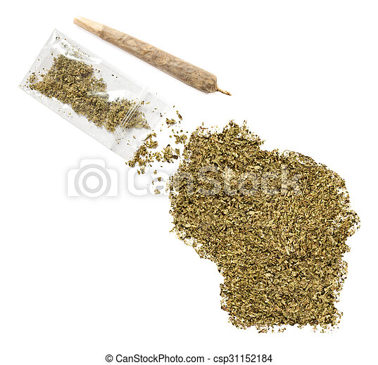 Weed in the shape of Wisconsin and a joint.(series) - csp31152184