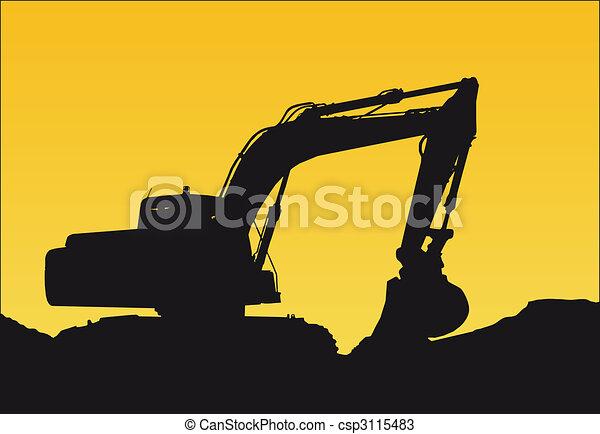 Drawings of bulldozer - a bulldozer on a sunset csp3115483 ...