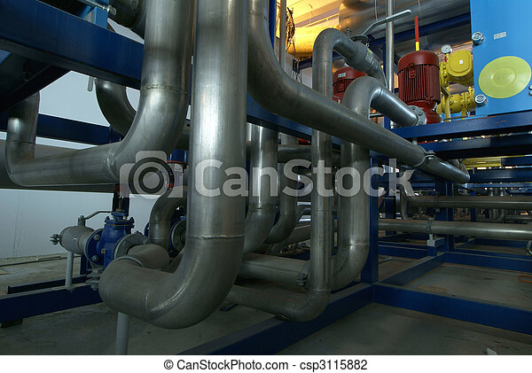 Pipes, tubes, machinery and steam turbine at a power plant - csp3115882