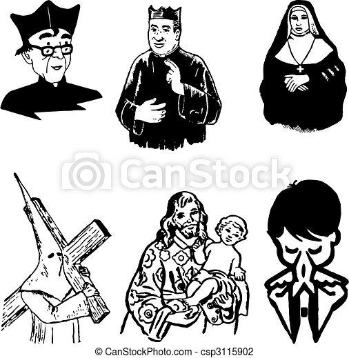 vector illustration of catholic silhouettes  - csp3115902