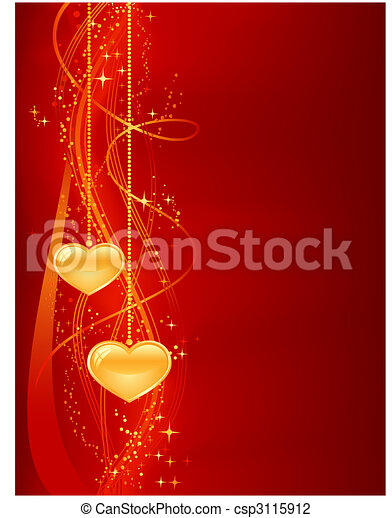 Romantic background in red gold with hearts - csp3115912