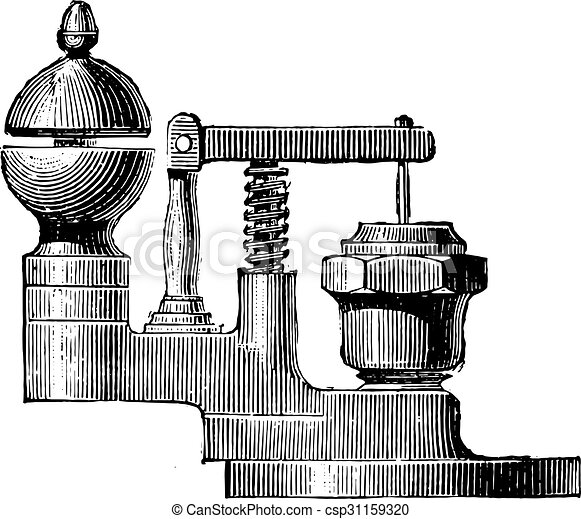 Ordinary whistle fitted on the base of the valve, vintage engraving. - csp31159320