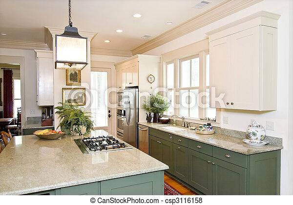 Plaatjes van mooi keuken mooi verfraaide keuken witte groene csp3116158 zoek naar - Groene en witte keuken ...