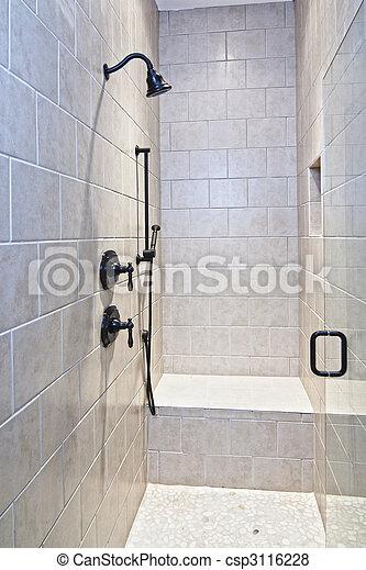 bilder von luxus dusche mit bank und kiesel boden csp3116228 suchen sie stock fotos. Black Bedroom Furniture Sets. Home Design Ideas