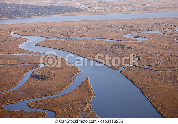 aerial view of salt marsh - csp3116256